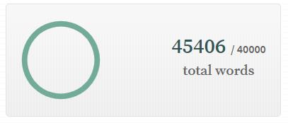 Captura de pantalla de la web del nanowrimo pone 45406/40000 total words.